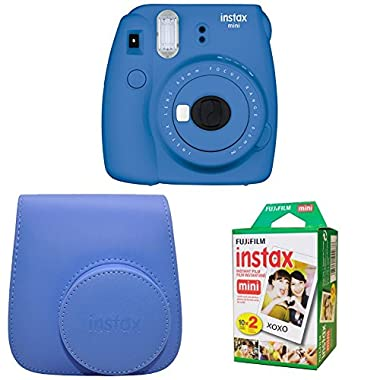 Fujifilm Instax Mini 9 Instant Camera with Instax Groovy Camera Case (Cobalt Blue) & Instax Mini Instant Film Twin Pack