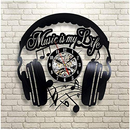wttian Vinyl wall clock earphone recording clock 3D design wall clock handmade gift wall clock
