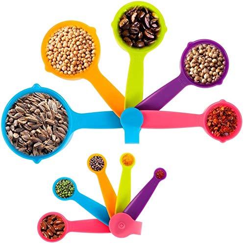 WENTS Messlöffel Kunststoff Messbecher Messlöffel Set Dosierlöffel mit Messlineal für trockenen und flüssigen Zutaten Küche Kochen Bunte Plastik Löffel 10PCS