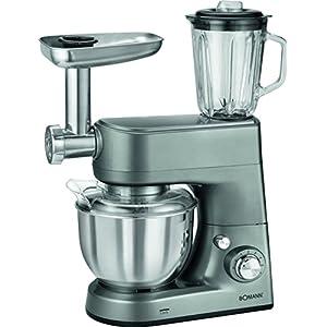 Bomann KM 1373 CB Robot de Cocina multifunción amasadora, picadora de Carne, batidora Vaso, Pasta, 1000w, 1000 W, 5 litros, 8 Velocidades, Titanio