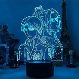 Luz nocturna 3D ilusión led decoración lámparas luces USB ataque en Titans Eren Jaeger 3D LED Anime luces de noche LAMP Attack Titan Eren Luz de noche mpara de mesa para regalo