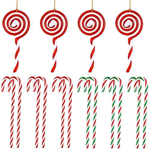 16 Piezas Bastones de Caramelo Adornos y Piruletas Adornos para Árboles de Navidad