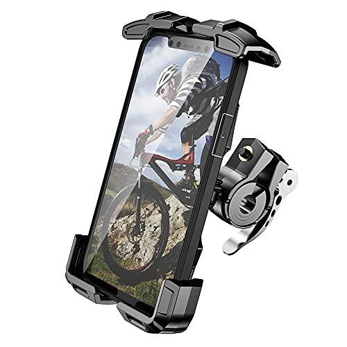 Mensican バイク スマホ ホルダー バイク用 【 クイックホールド 】 携帯ホルダー スマホ 携帯 スマートフォン アルミ製 バーマウント ミラー マウント 360度回転 原付 オートバイ 自転車 (black, ショートマウント) (Black)