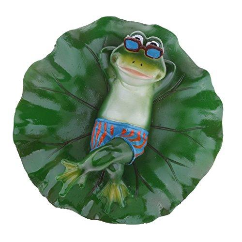 SM SunniMix Künstliche schwimmende Lotus Frosch Teichfigur im Garten Teich - Liegend