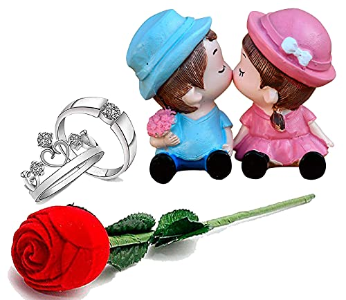 Natali Traders Love Day Gift Velvet Red Rose Ring Holder With Silver Rings for Couples-Love Showpiece-Gifts for Unisex Adult(Silver)