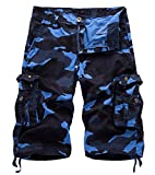 AOYOG Mens Camo Cargo Shorts Cotton, Dark Blue Camouflage 083, Lable size 36(US 34)