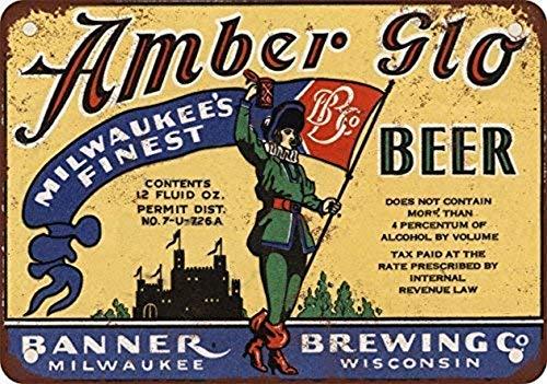 mengliangpu8190 Metalen Tin Teken Banner Amber Glo Bier Muurdecoratie Teken 8