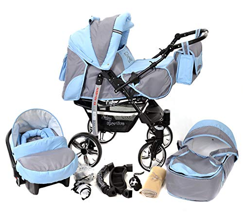 Sportive X2, 3-in-1 Travel System incl. Baby Pram with Swivel Wheels, Car Seat, Pushchair & Accessories (3-in-1 Travel System, Pale Grey & Blue)