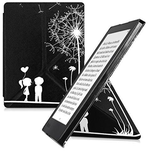 kwmobile Funda Compatible con Kobo Aura H2O Edition 2 - Carcasa magnética de Origami para e-Book - niños y Diente león Blanco/Negro