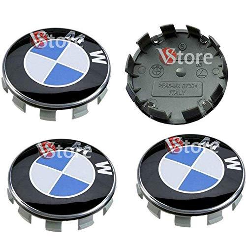 4 Radnabenabdeckungen, kompatibel mit BMW mit blau-weißem 68 mm-Logo, Felgen-Serie: 1 2 3 4 5 6 7 M Z X Bolzen