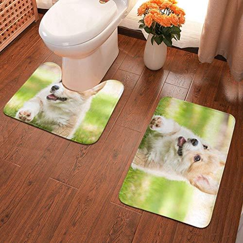 Trista Bauer Alfombrilla Antideslizante de baño Corgi Puppy Alfombra de baño Impresa Juego de Alfombrillas Suaves de 2 Piezas Alfombrilla de baño + Contorno de absorción de Agua 40x60cm
