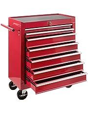 Arebos werkplaatswagen   7 vakken   centraal afsluitbaar   anti-slip coating   wielen met parkeerrem   massief metaal   rood   blauw of zwart 7 Fächer rood