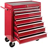 Arebos Servante Caisse à Outils Chariot d'Atelier | 7 tiroirs | Rouge | Résistante aux rayures
