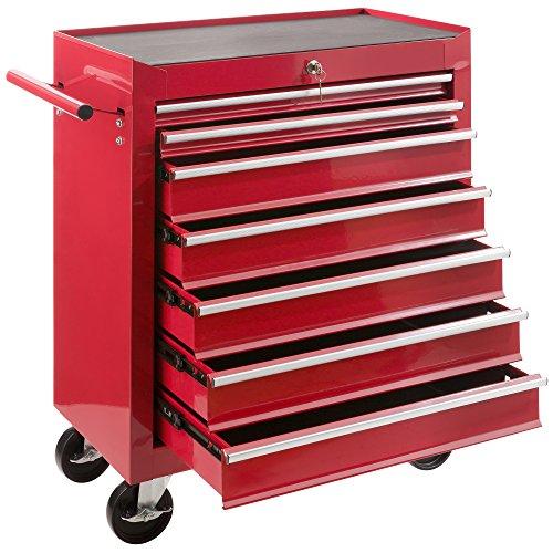 Arebos Werkstattwagen 7 Fächer | zentral abschließbar | inkl. Antirutschmatten | kugelgelagerte Schubladen | 2 Rollen mit Feststellbremse (rot)