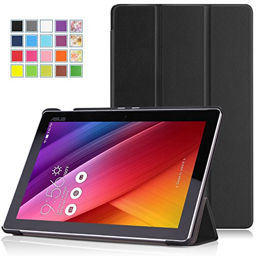 ASUS ZenPad 10 Z300C ケース - ATiC ASUS ZenPad 10 Z300C /ZenPad 10 Z301MFLタブレット専用開閉式三つ折薄型スタンドケース BLACK