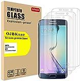 OJBKase [Lot de 3 Verre Trempé Compatible avec Samsung Galaxy S6 Edge Plus, Film de Protection...