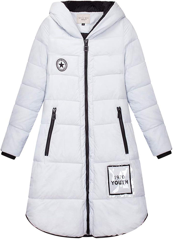 LQYRF Women's Long Zipper Hooded Silver Grey Down Jacket 90% White Duck Down Jacket