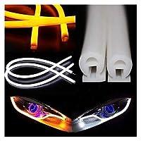Hxfang® エンジェルアイズは、ホワイトイエローブルーを実行SignalLights LEDカースタイリングUniversial DRL柔軟なチューブストリップ昼間を回し (Color : 60cm Yellow)