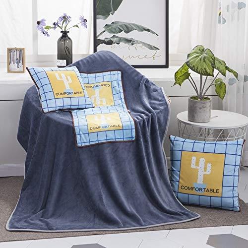 Pattern Multifunctional Plush Blanket Square Pillow Quilt Office Car Pillow Cushion With Cactus, Size: L guangzhoubaiyonghangkongpiaowuyouxiangongsi