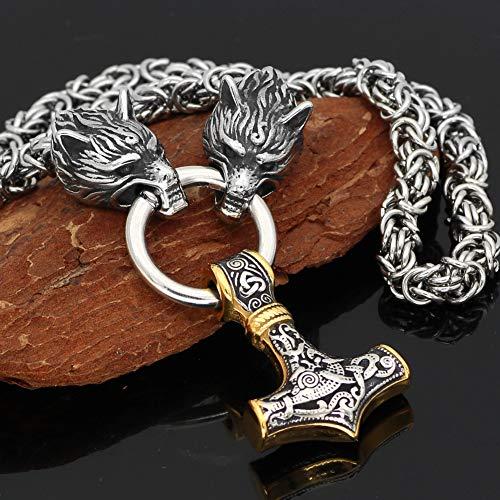 HHW Hombres Nórdicos Thor'shammer Amuleto Mjolnir Colgante Collar Vikingo Auténtica Joyería Escandinava Acero Inoxidable 3D Cabeza De Lobo Cadena Bizantina,Two Tone Pendant,80Cm Chain