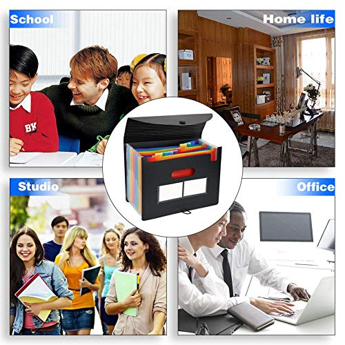 Expanding File Folders 2 Packs/BluePower 12 Pockets A4 Accordion File Organizer/Multicolor Portable Expanding File Box,High Capacity Plastic Accordian File Bag Wallet Briefcase with Colored Tab Photo #5