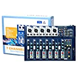 7 Channel Mixer Console, 48V Phantom Power Mixing Board, Podcast Audio Mixer with USB for Live Streaming Recording DJ Stage Karaoke Music Production Equipment