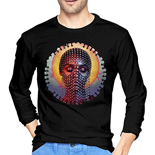 fenglinghua Janelle Monae Dirty Computer Men's Long Sleeve T Shirts Black Casual Tee Tops - - XL