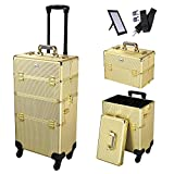 AW Shiny Gold 2in1 Aluminum Makeup Train Case Lockable Rolling Travel Salon Trolley Cosmetics Hairdressing Storage