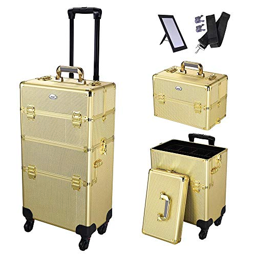 AW 2in1 Aluminum Makeup Train Case Rolling Travel Salon Nail Trolley Cosmetic Hairdressing Vanity Storage Organizer