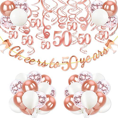 Qpout Decorazione per la Festa del 50 ° Compleanno, 50 Anni di Banner in Oro Rosa 30 Pezzi Rosa turbinii appesi Rosa Palloncini in Lattice e coriandoli 50 Pezzi per 50 ° Anniversario di Matrimonio