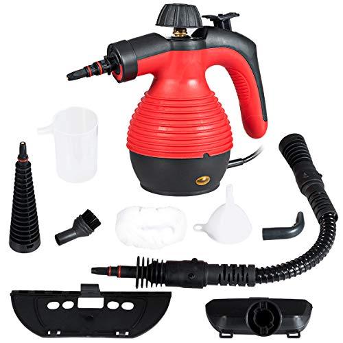 COSTWAY Dampfreiniger inkl. 9 Zubehörteil, Handdampfreiniger, Dampfreinigen Handgerät 3 bar / 350ml / 1050W / 3-5min Aufheizzeit (Rot)