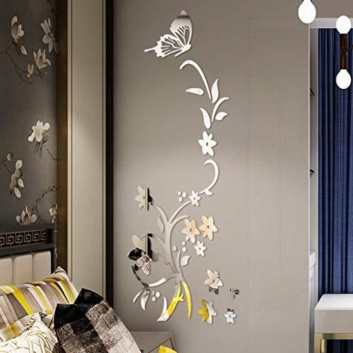 3D Acrylique Sticker Muraux Moderne Sticker Miroir Effet Salon Maison Papier Peint Autocollant Affiche Autocollant de miroir 3D Sticker autocollant Décoration de Toilette salle de bain Motif 4 WINJIN