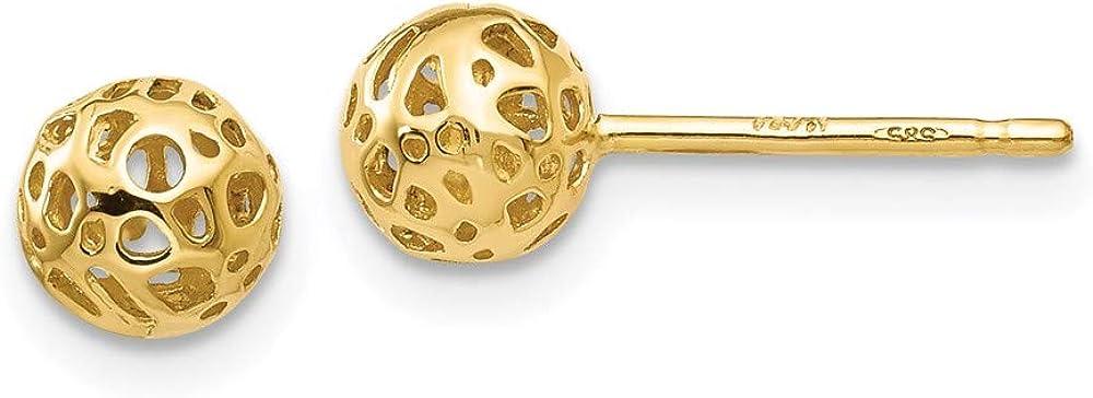 14K Yellow Gold Small Fancy Ball Post Earrings 5.5mm 5.5mm style YE1687