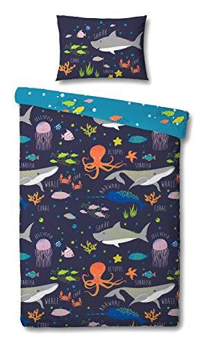 Sea Life Cot Duvet Cover and Pillowcase Set - 90cm x 120cm