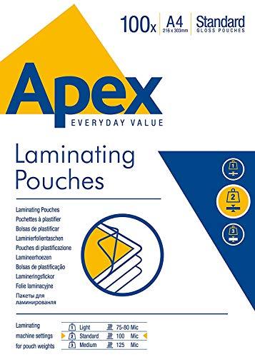 Apex Pouches per Plastificatrice, A4, 100 Pezzi