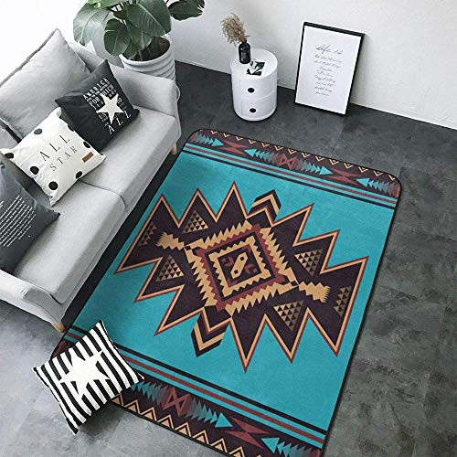 Native Southwest American Indian Aztec Navajo Pattern Modern Area Rugs Home Decorative Rugs Yoga Mat Floor Carpets Mat Home Decor for Bedroom Living Playing Room