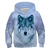 Belovecol Unisex Boys Girls 3D Wolf Printed Pullovers Hoodie Galaxy Non Fleece Hooded Pocket Sweatshirt for Casual Party 9-11 Years