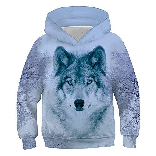 Belovecol Kids Boys 3D Print Snow Wolf Trees Sweatshirts Cool Graphic...