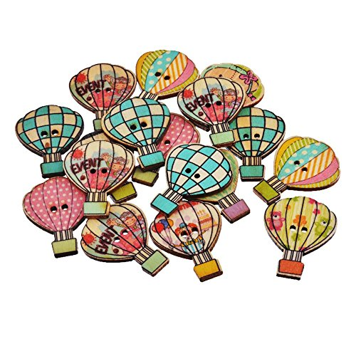 jumpeasy 50 STKS Mode Leuke Cartoon Kleding Handgemaakte Naaien Knopen Scrapbooking Houten Vuur Ballon Patroon