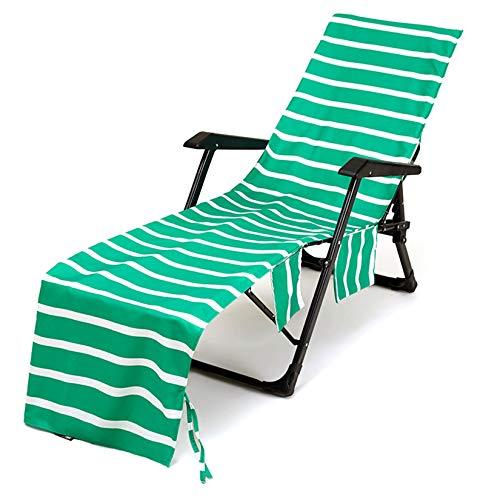 SM-River Funda para Silla De Playa, Cojines para Tumbona De Jardín Lounger Mate Funda para Silla Portátil Toalla para Sillón (sin Sillas) (75 * 215CM,Grass Green)