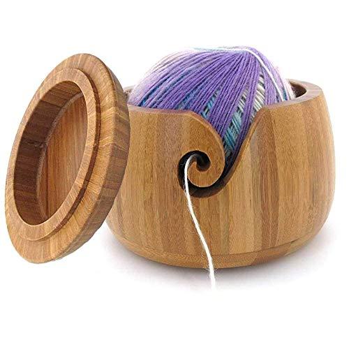 JasCherry Ovillo de lana Cuenco de Bambú con Gancho y la Tapa - Hilo de Bambú Cuenco para Tejer 6 x 6 x 4.3 inch