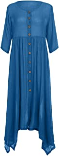 Cardigans for Women Plus Size Fashion O-Neck Half Sleeve Pure Color Button Cardigan Cotton and Linen Dress Ball Gown