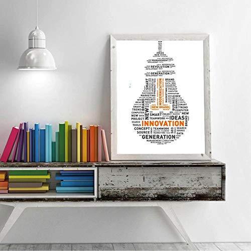 Geen lijst Word Cloud of Ideas gloeilamp poste en prints Modern minimalistisch innovatie Quotes muurkunst canvas ng Home Room