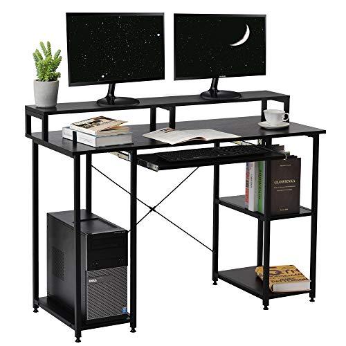 Escritorio de ordenador con estantes de madera, mesa de estudio, mesa de ordenador portátil, mesa de trabajo, mesa de oficina para el hogar (negro)