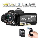 Videocámara ORDRO 4K Ultra HD con Grabación de Video 4K, Videocámara WiFi de Cámara de Video 1080P 60FPS con Visión Nocturna por Infrarrojos, Pantalla Táctil 3.1''IPS con Control Remoto