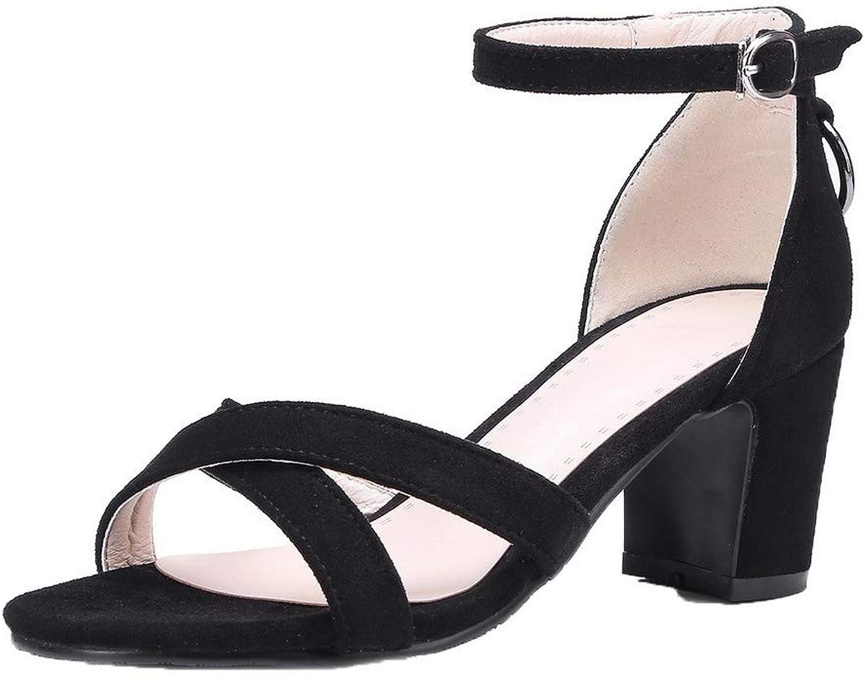 WeenFashion Women's Imitated Suede Buckle Open-Toe Kitten-Heels Solid Sandals, AMGLX010110