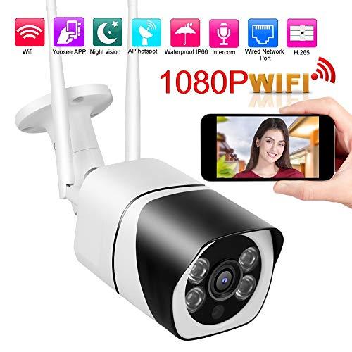 Überwachungskamera, 1080P WiFi IP IR Bullets Überwachungskamera IP66 Wasserdichte Überwachungskamera für den Außen-CCTV-Monitor(EU)