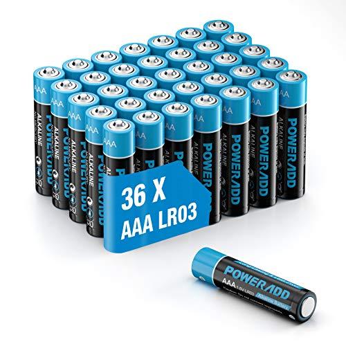 POWERADD Batterie Alcaline AAA Confezione da 36 Mini Pile Stilo AAA da 1.5V