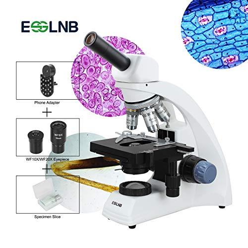 ESSLNB Microscopio Ottico 40x-2000x Microscopio Professionale per Adulti e Bambini con Vetrini per Microscopio Telefono Adattatore 2 Lampade a LED 3D Vassoio Meccanico