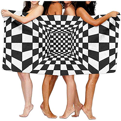 Edmun Toalla de Piscina Unisex Trippy Tablero de Damas Cuarto de baño de algodón de Gran tamaño Toallas de Viaje de Playa 80X130cm